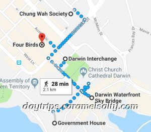 Map of My Route Around Darwin City Centre
