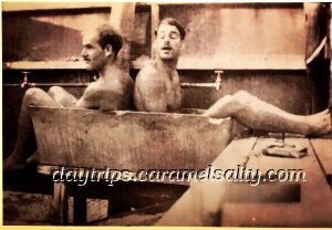 Photo Archives Show Two Military Personnel Sharing a Bath