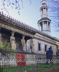 Portico of St Pancras New Church on Euston Road