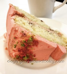 Raspberry and Pistachio Cake at the Quaker Centre Bookshop
