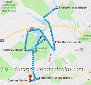 My Walking Route from Osterley House to the Grand Union Cafe