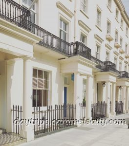 White Houses With Porticos On Ebury Road