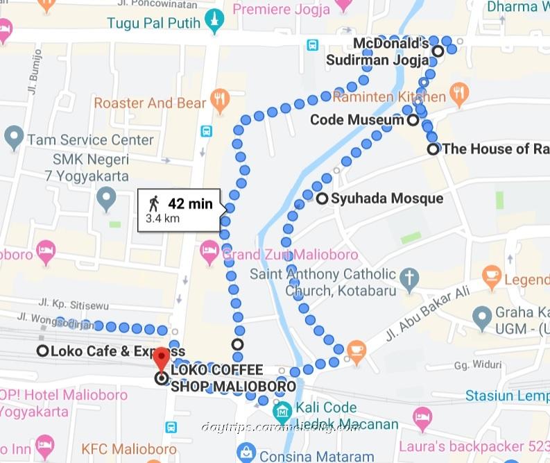 My Route Around Yogyakarta