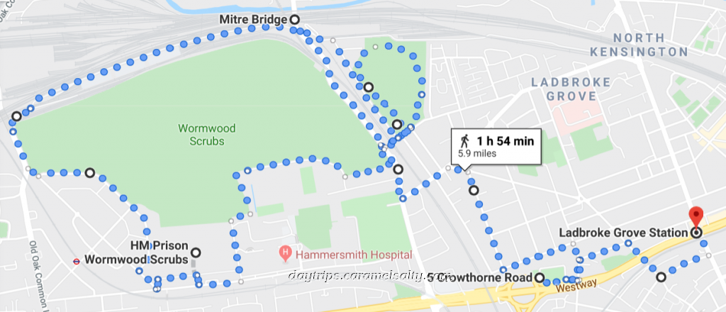 Walking Route From ladborke Grove Station to Mitre Bridge