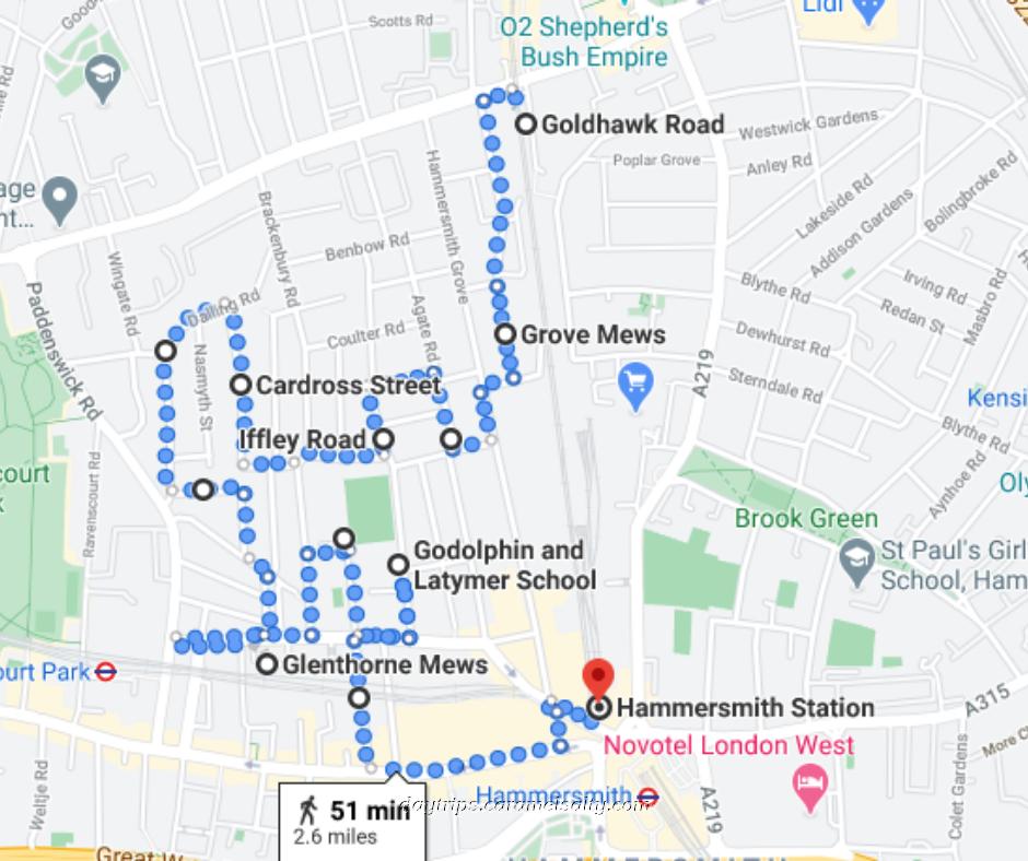 Route of Brackenbury Village Walk