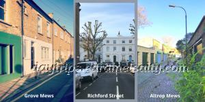 Richford Street, Astrop Mews and Grove Mews in Brackenbury Village